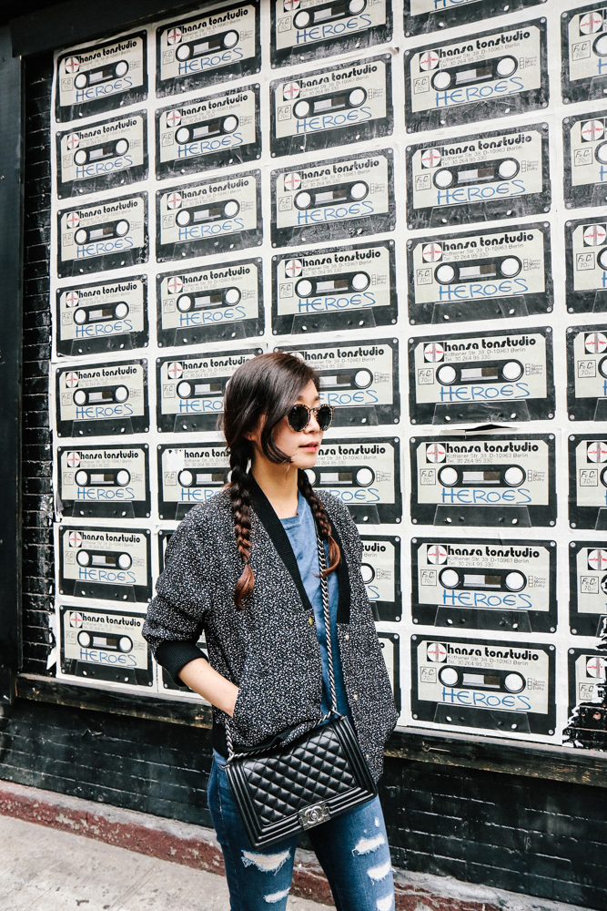 Illesteva Sunglasses, & Other Stories Jacket, Mango Shirt, J Brand Jean, Chanel Bag