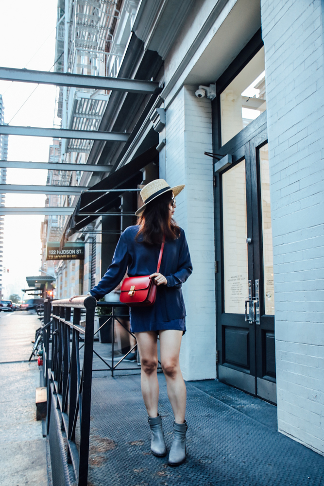 Janessa Leone Hat , Anthony Thomas Melillo Shirt,  Grana Silk Shorts , Helmut Lang Boots, Céline Box Bag