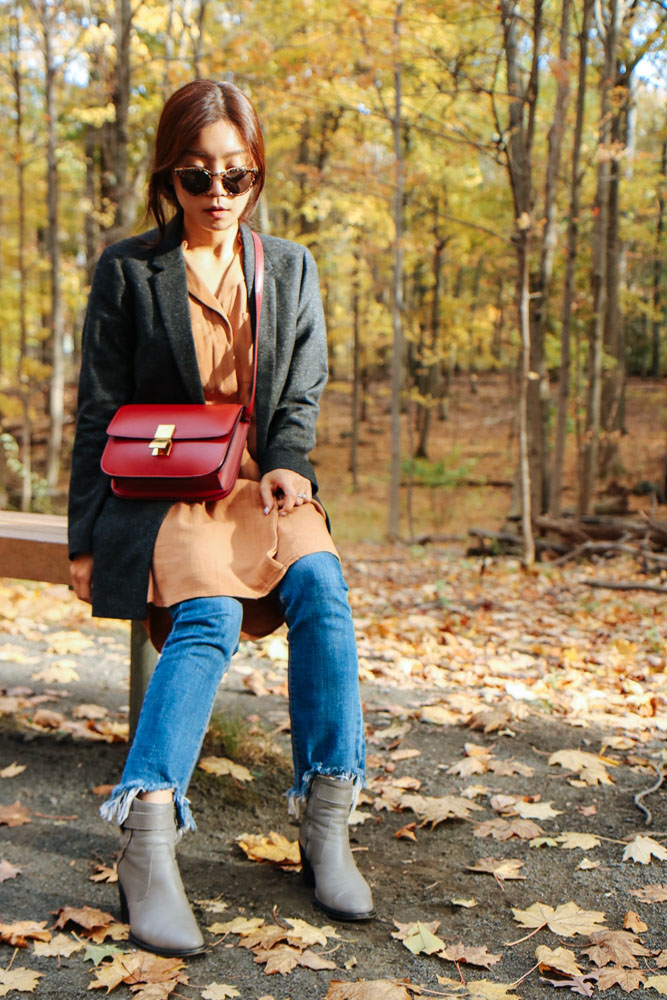 Illesteva Sunglasses, COS Blazer, Greylin Dress, Jeans from DDM Korea, Helmut Lang Boots, Céline Bag