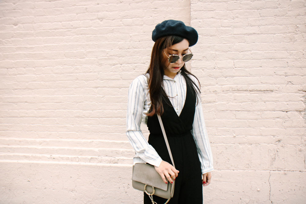 Zara Beret, Gentle Monster Sunglasses, Ulla Johnson Shirt, TOBI Jumpsuit, Chloé Bag