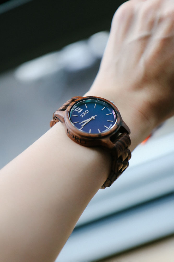 JORD Wood Watch, Frankie 35 Series in Zebrawood & Navy