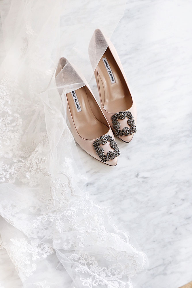 My Wedding Shoes,  Manolo Blahnik Satin Hangisi Pumps in Blush