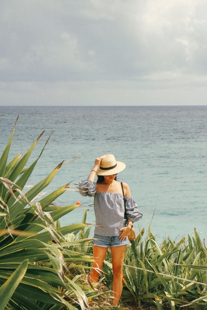 Janessa Leone Hat , Aqua Off-Shoulder, Zara Shorts,  The Frankie Shop Woven Bag  (Bobo calls this, the  Coconut bag )