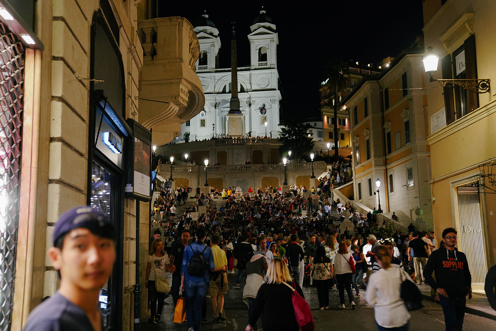 Spanish Steps at night.  Super Crowded!