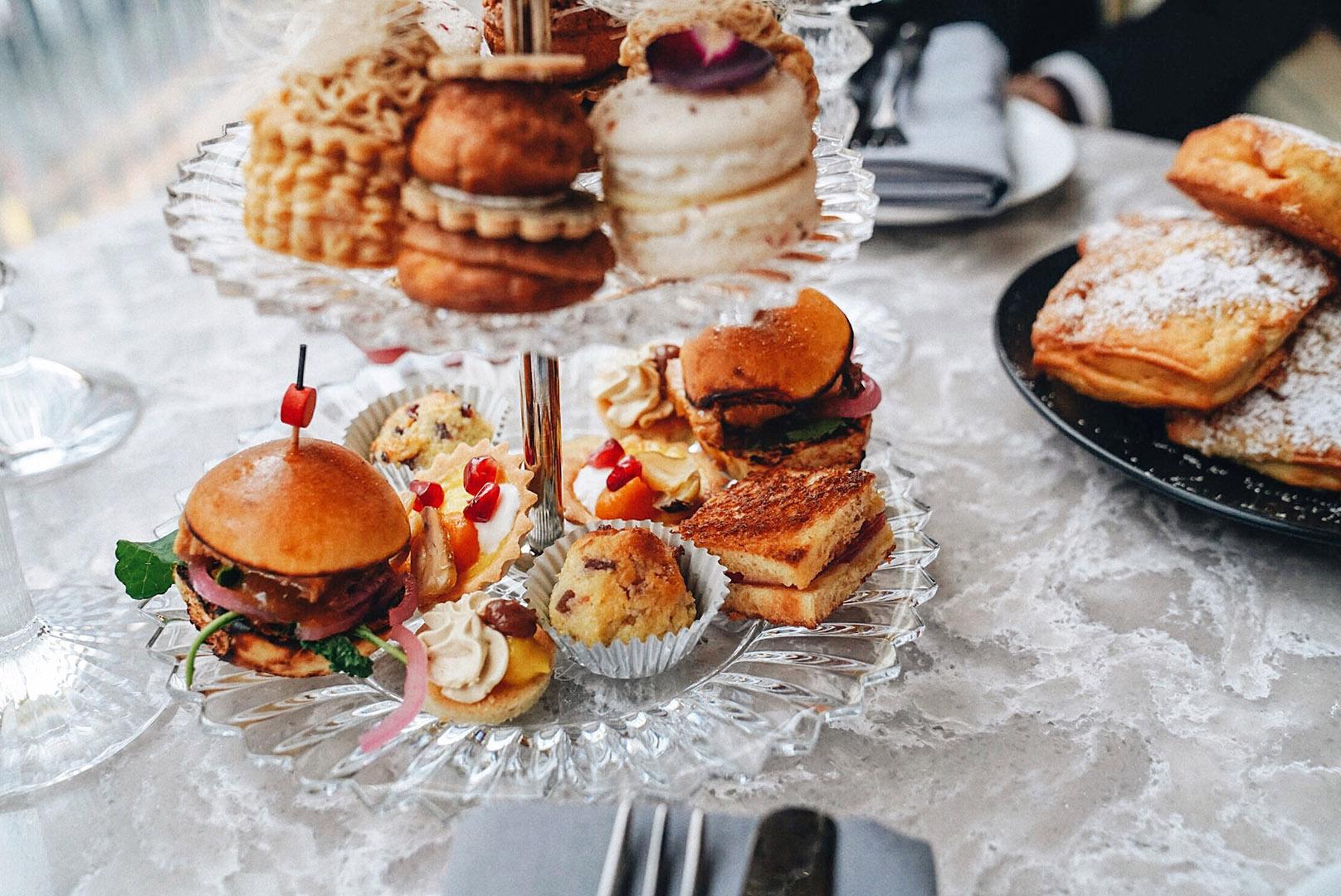 Start from the bottom with SAVORIES;  Croque Monsieur Gruyere Holiday Stuffing, Apple, Walnut Butternut Squash Tart, Chestnut, Pomegranate Foie Gras, Almond Financier, Fig Roasted Turkey, Pain de Mie, Plum Jam.