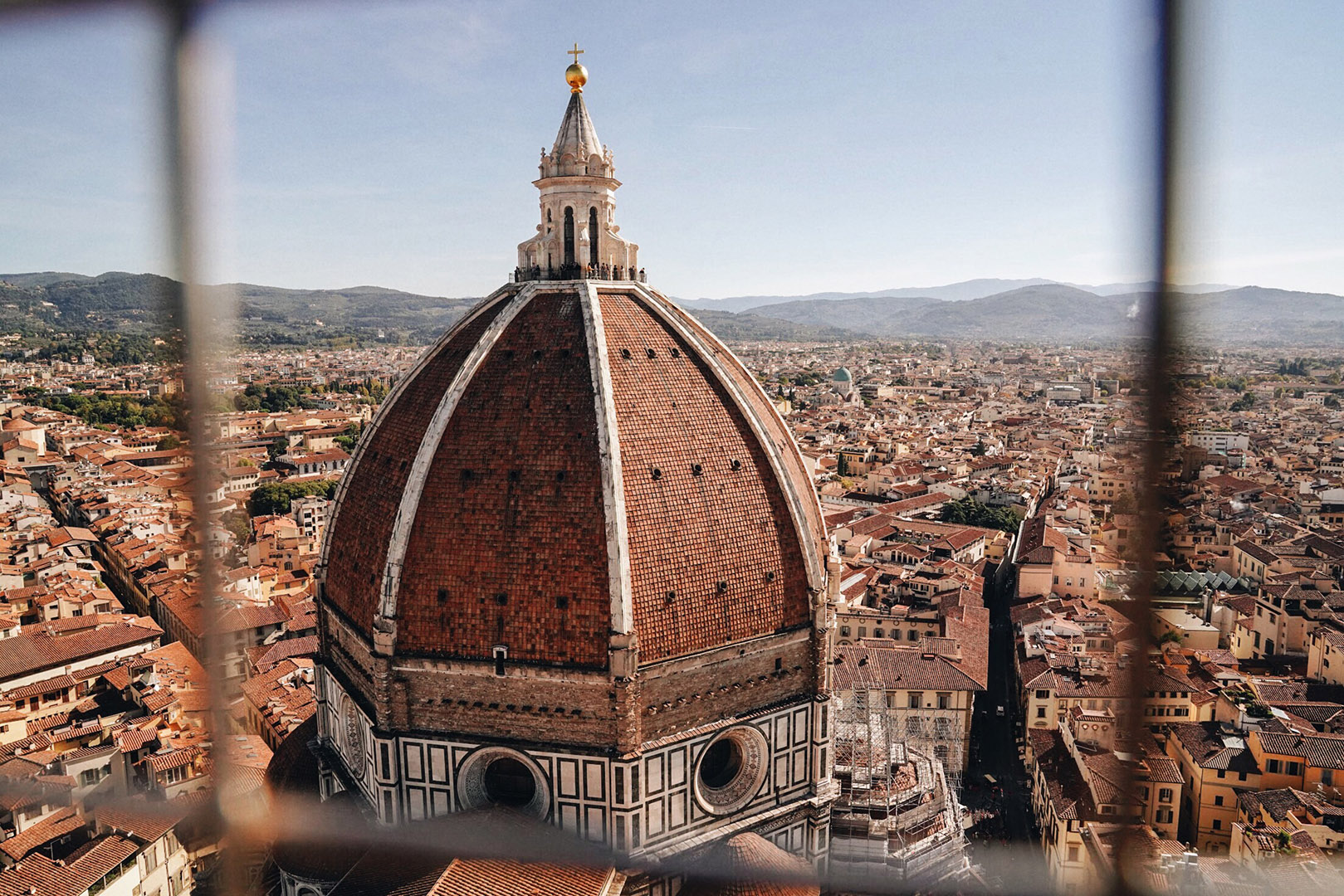 View of the Dome from Giotto's Bell Tower. Gorgeous view, minus this cage.