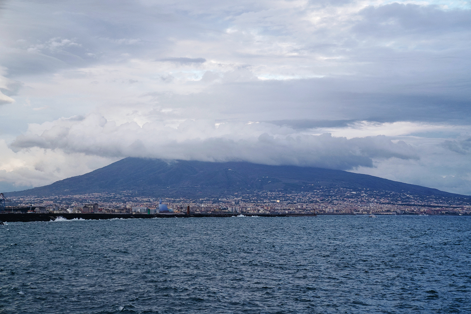 Mount Vesuvius,  Famed volcano known for the destruction of Pompeii in AD 79,  View from Naples Harbor.