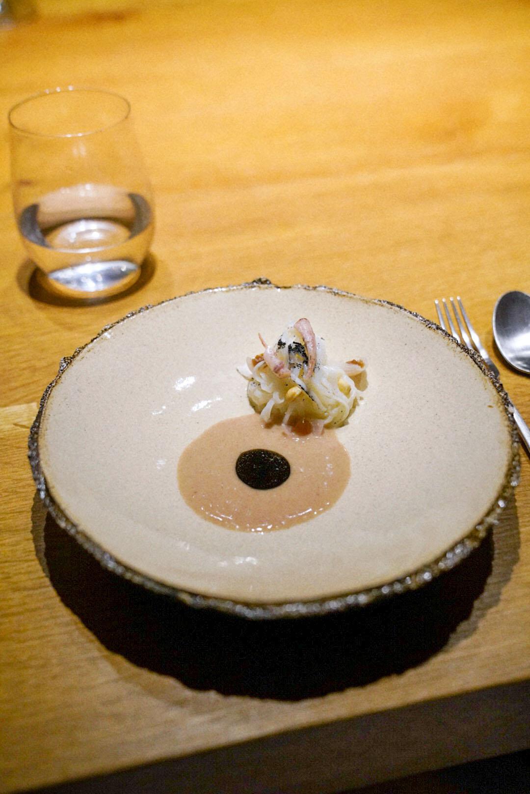 Squid, hazelnut, bergamote