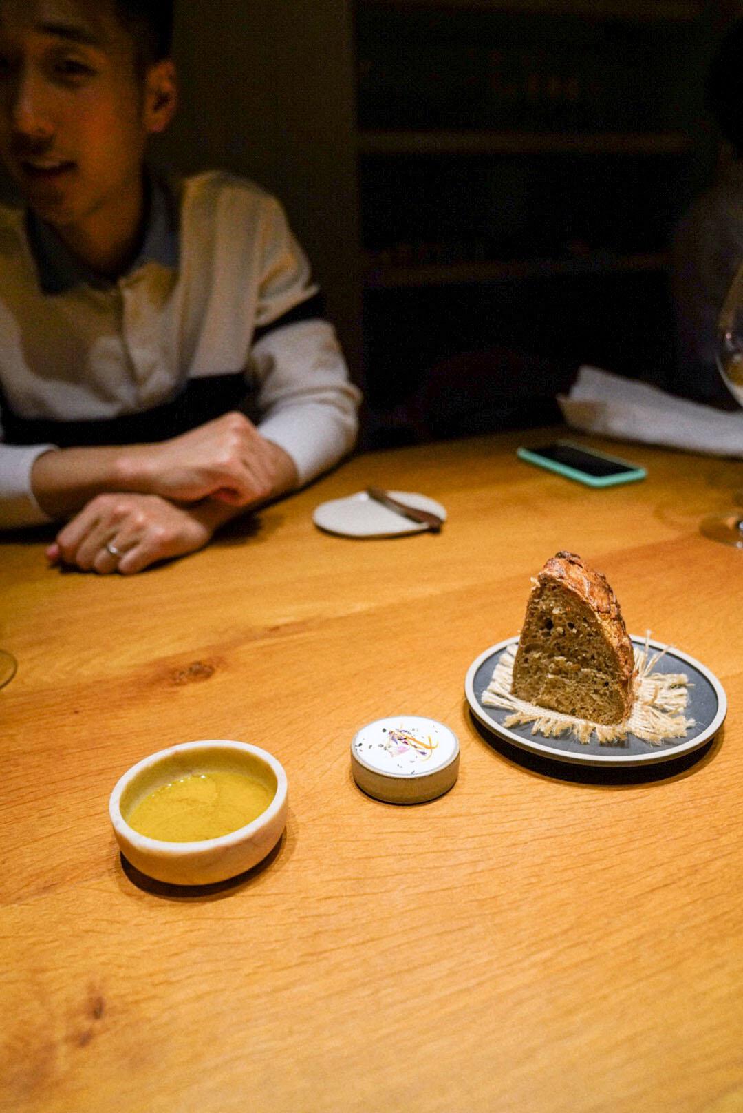 Sourdough bread, butter, olive oil