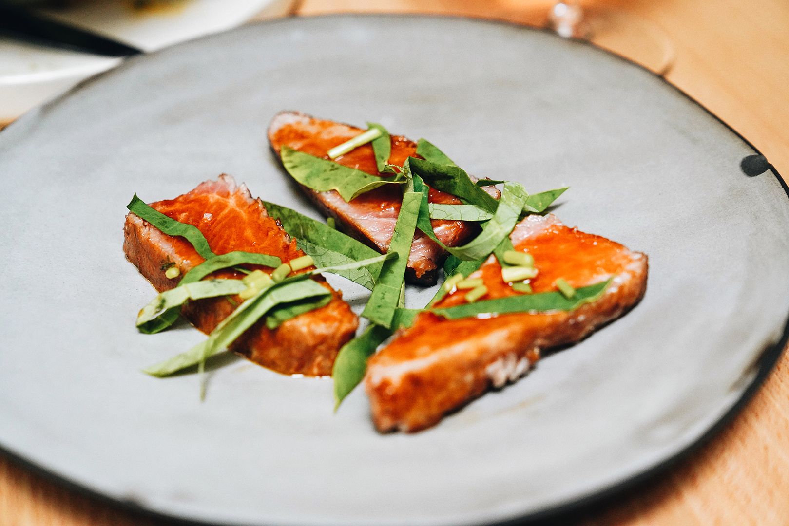 Smoked Bluefin tuna belly, petter glaze & nasturtium