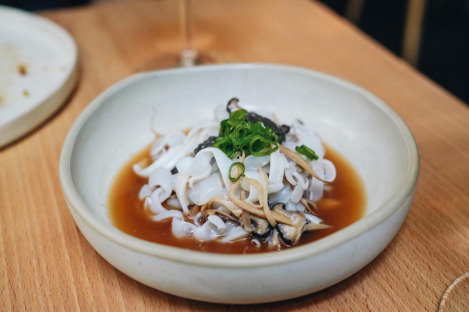 Azorean squid, eryngii & pork broth