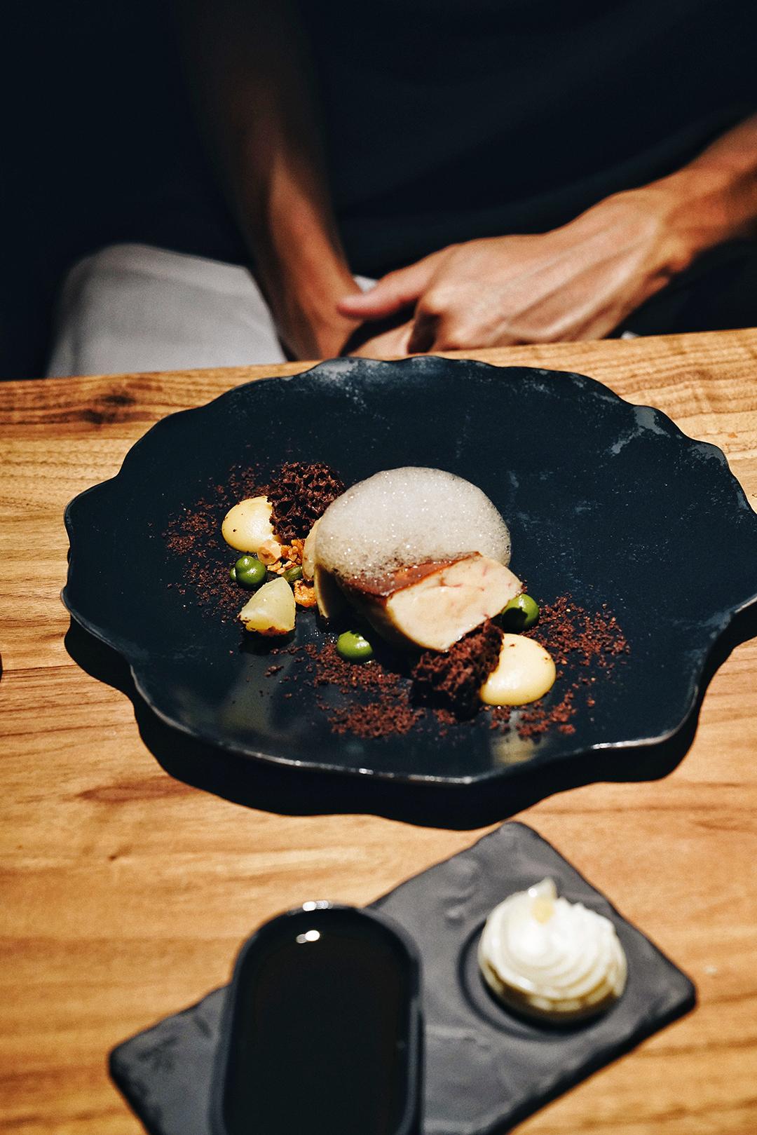 Seared foie gras, apple, granola, beetroot, coffee