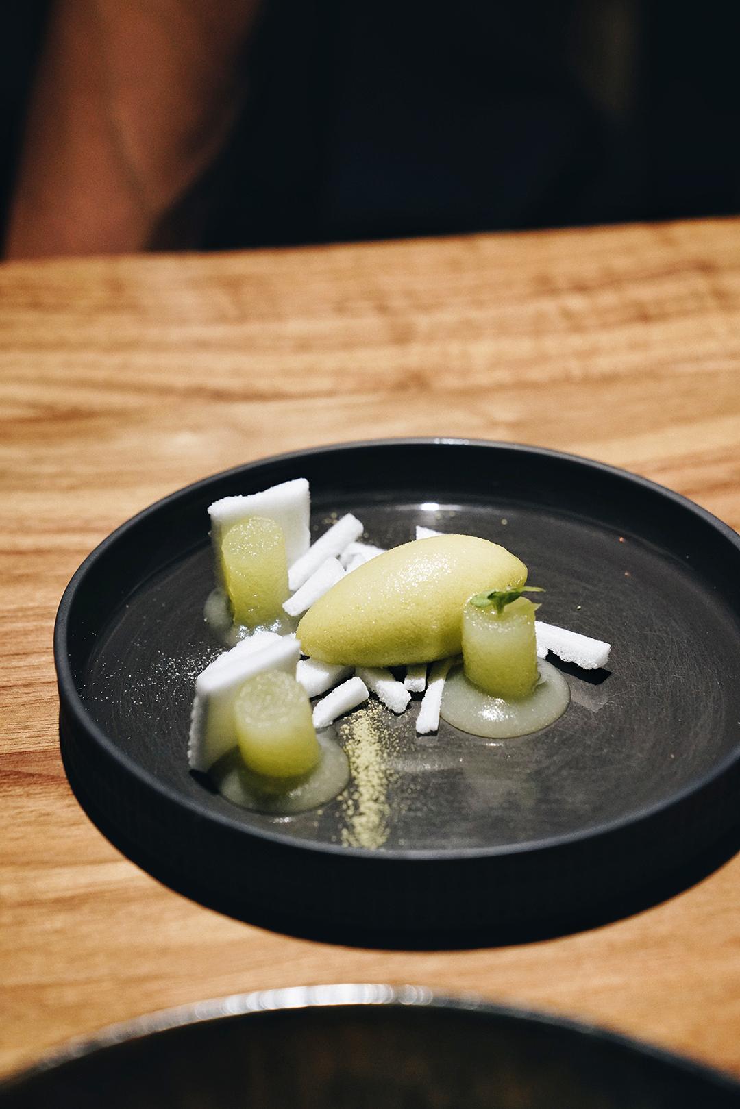 Basil sorbet, lime merengue