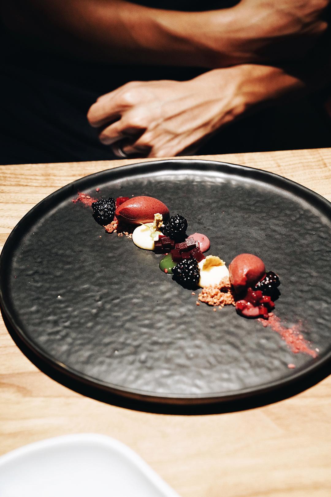 Blackberry textures and celery