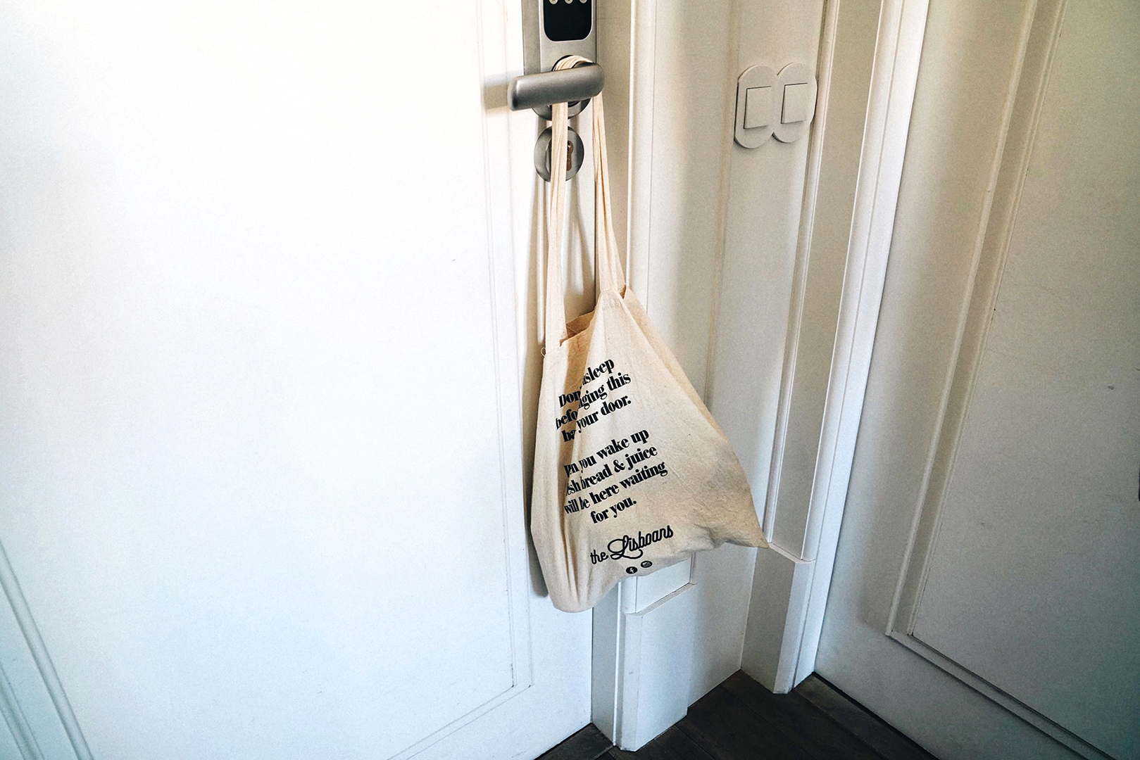 When you have this canvas bag outside your door at night, fresh breakfast is delivered to you every morning during your stay at The Lisboans.
