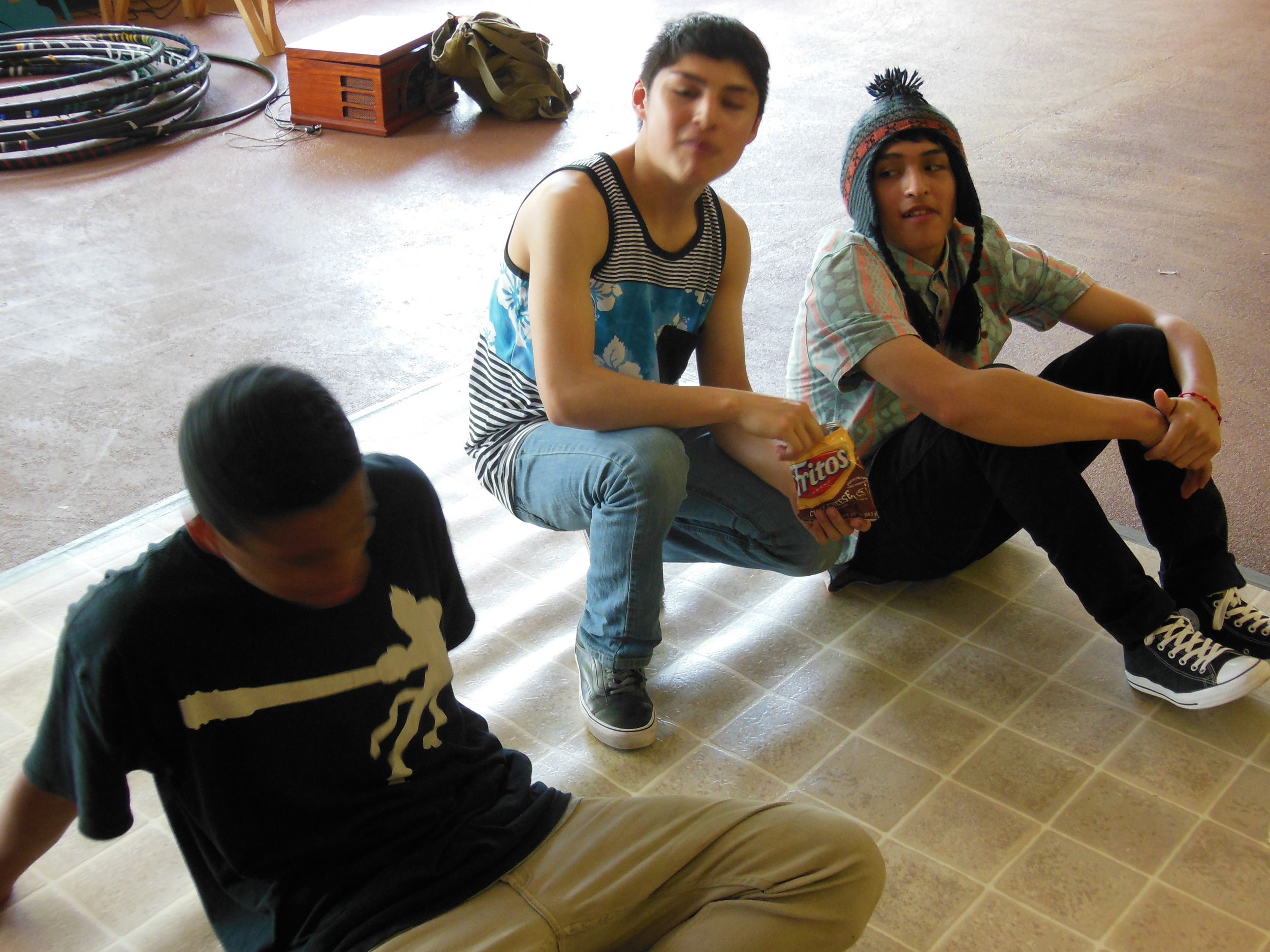 Bboy's taking a breather from breakdancing during MYP's Hip Hop program in East Portland.