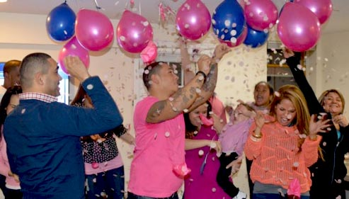 meg-made gender reveal party confetti-filled balloons