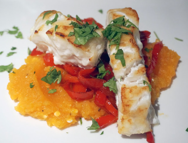meg-made Fast Diet - baked cod with balsamic peppers and sweet potato mash