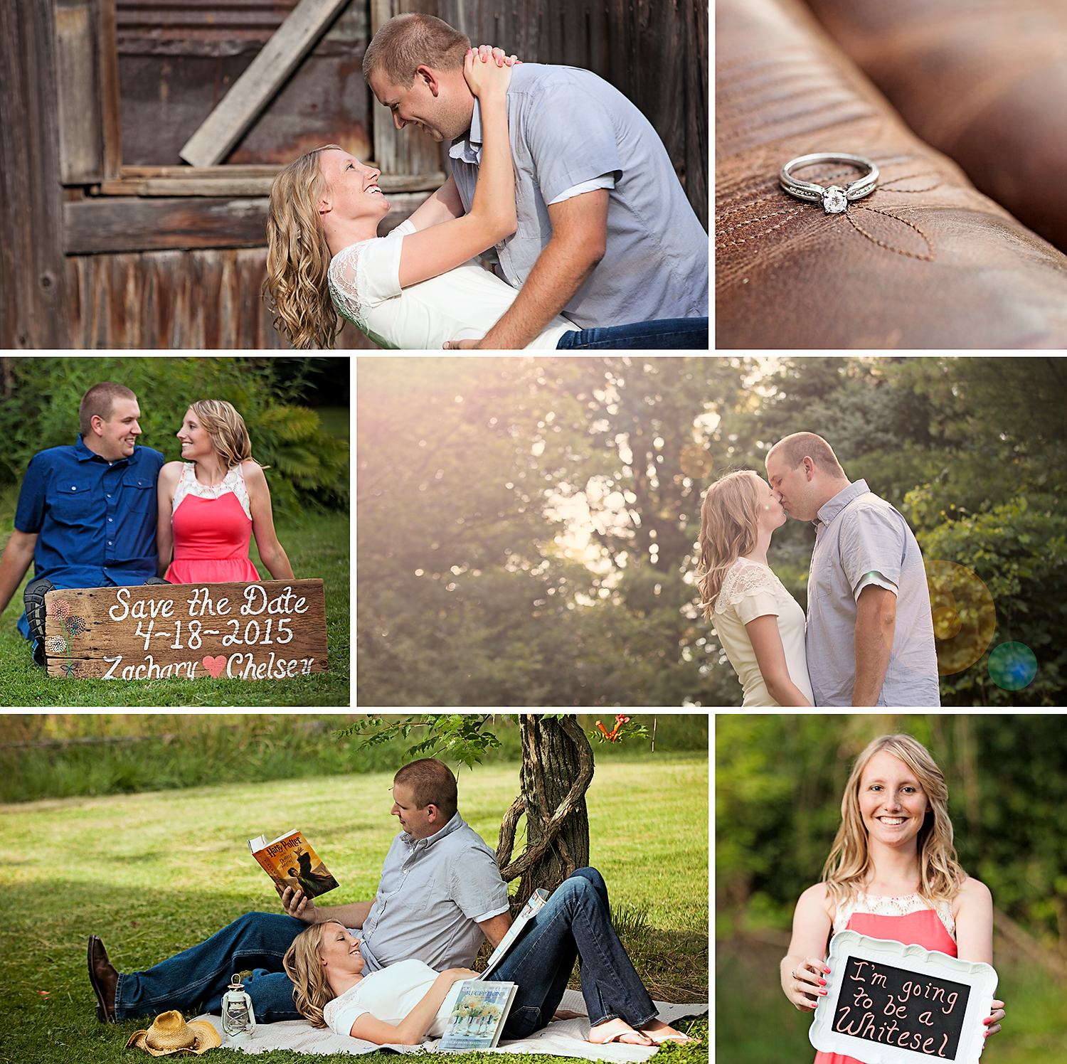 I absolutely LOVE how Chelsey and Zach incorporated a love for reading (Harry Potter and bridal magazines) into their engagement session.  And these beautiful props were made by Chelsey's soon to be mother in law!