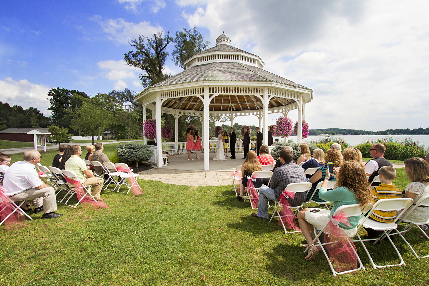 This park had the most beautiful view.  The sky and water were so blue... the gazebo was just perfect for their very personal ceremony.