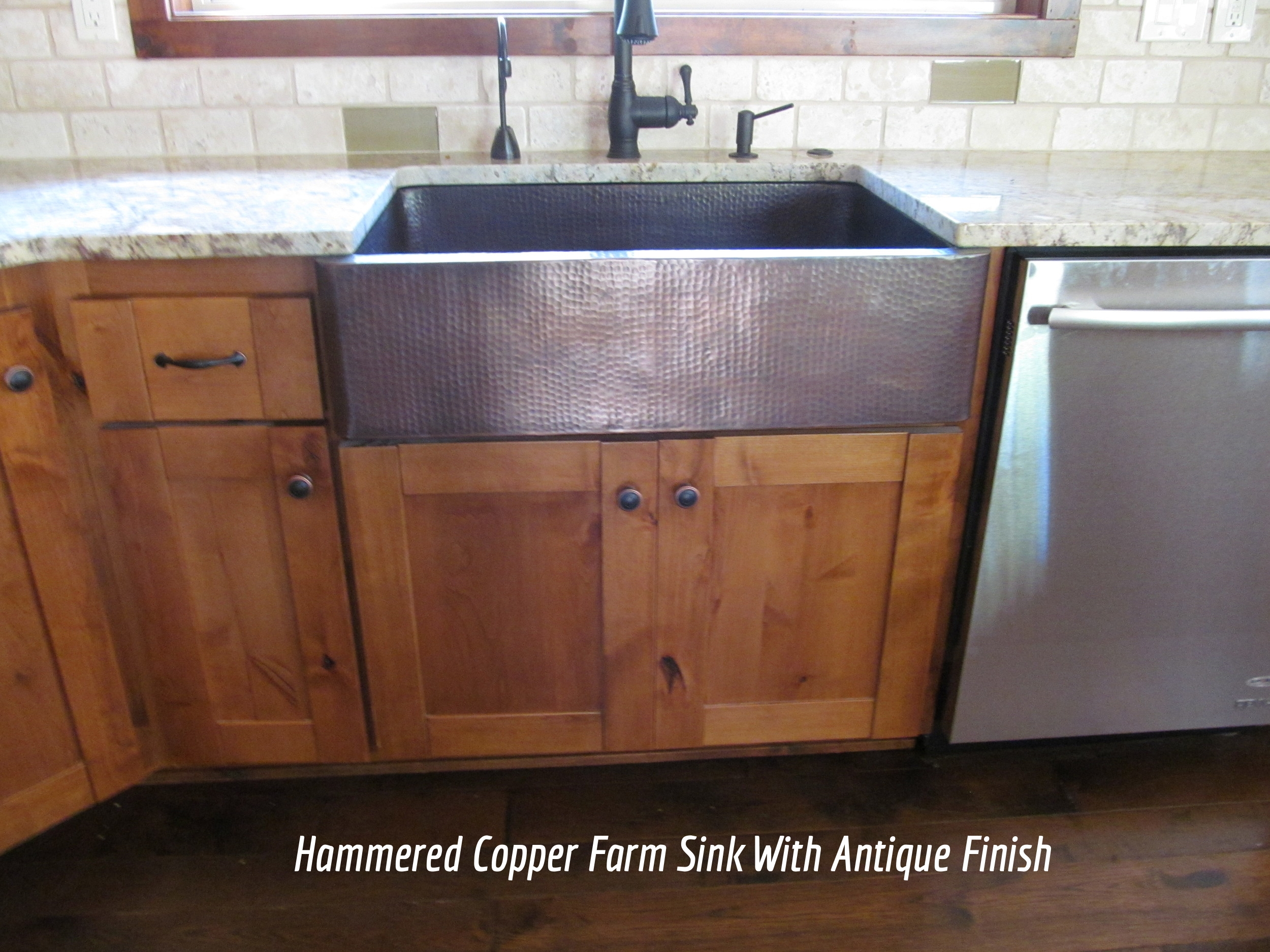 Hammered Copper Farm Sink With Antique Finish
