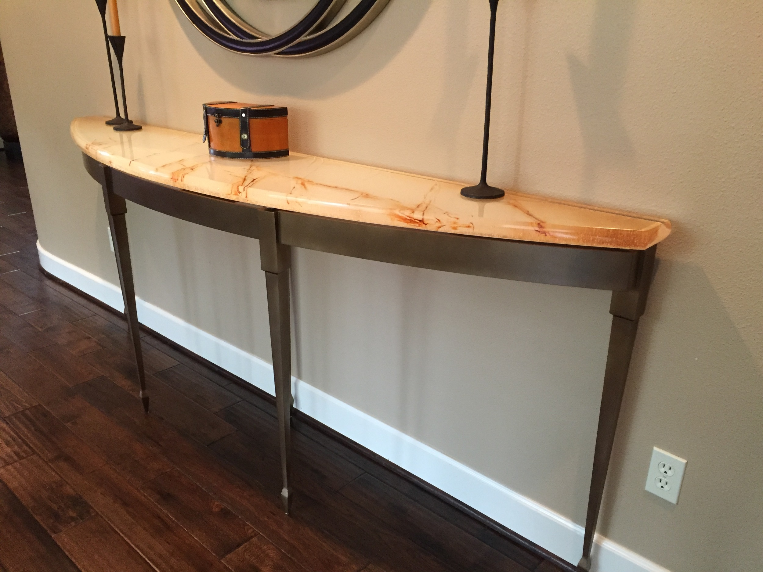 Casted Glass Console Table