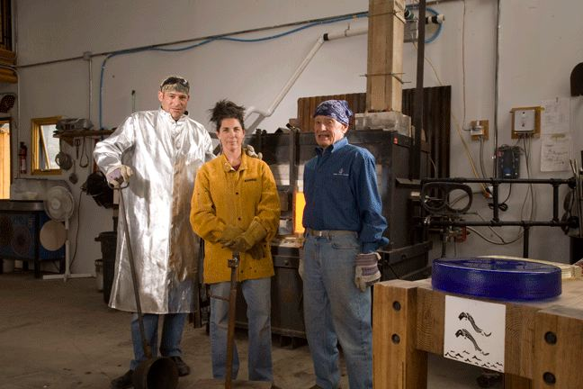 Dylan, Jacqueline, and Lee in the hot glass studio