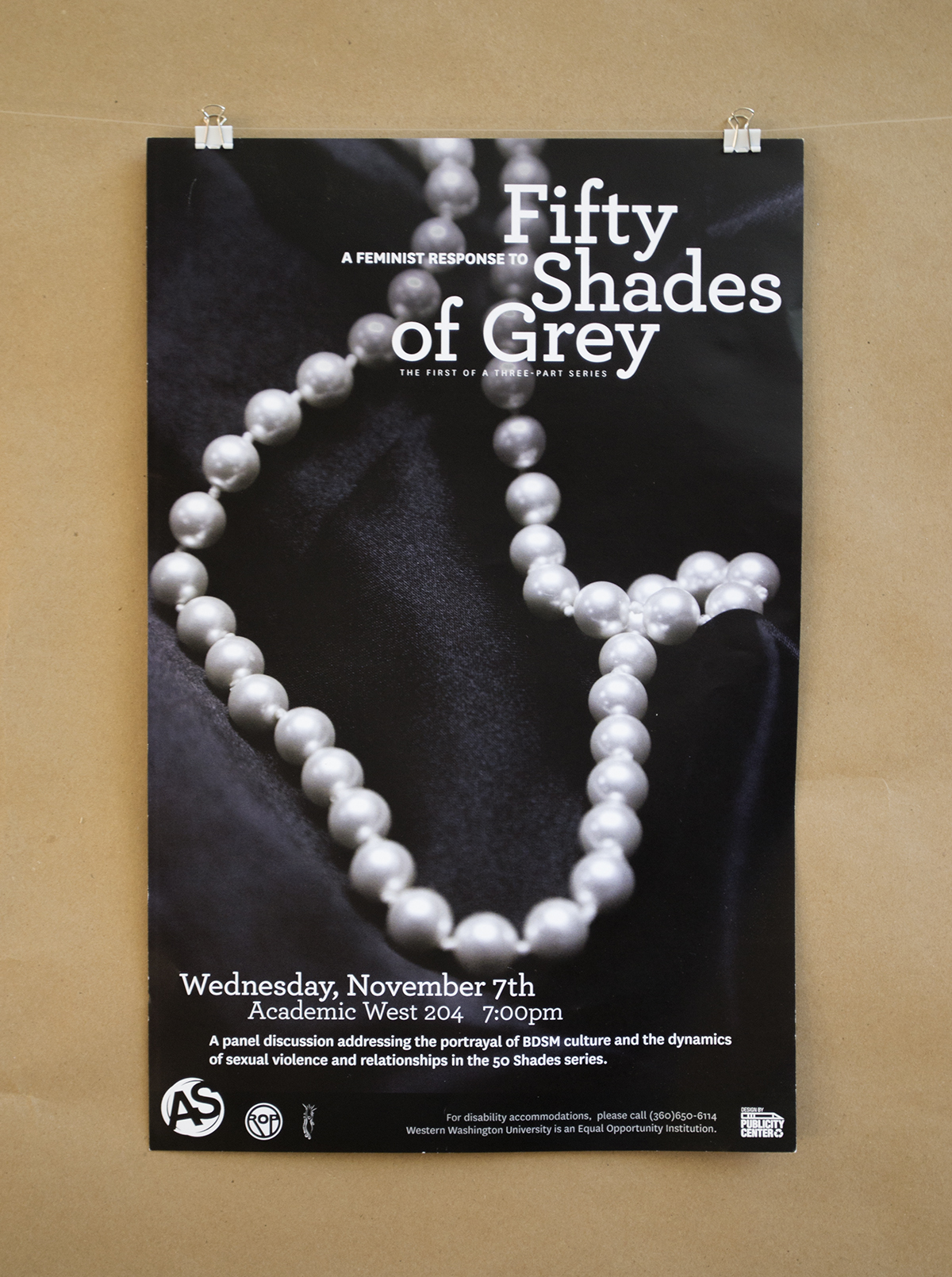 This Women's Center event was a huge hit on campus. The client was looking for a poster that looked like the current books. I chose a pearl necklace for the featured item because I felt that it both contrasted and complemented the tie of the original covers. Then I cleaned up the typography but retained a similar placement.