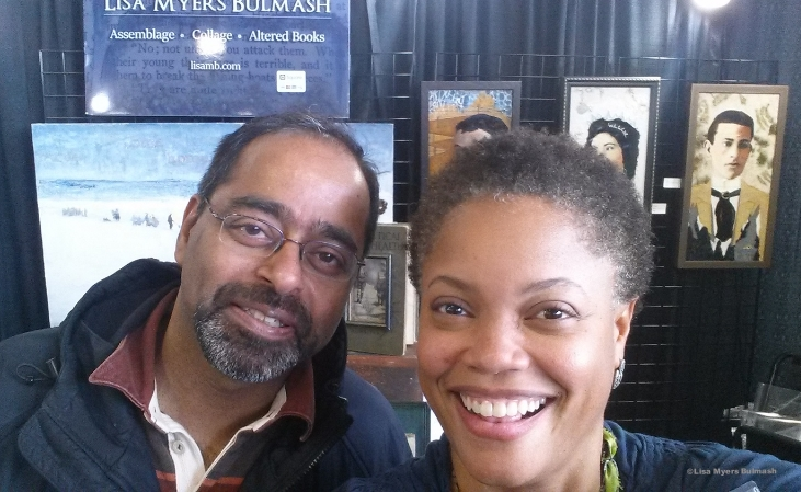 Painter/poet Vikram Madan stops by to chat at the Best of the Northwest October show. Credit: Lisa Myers Bulmash