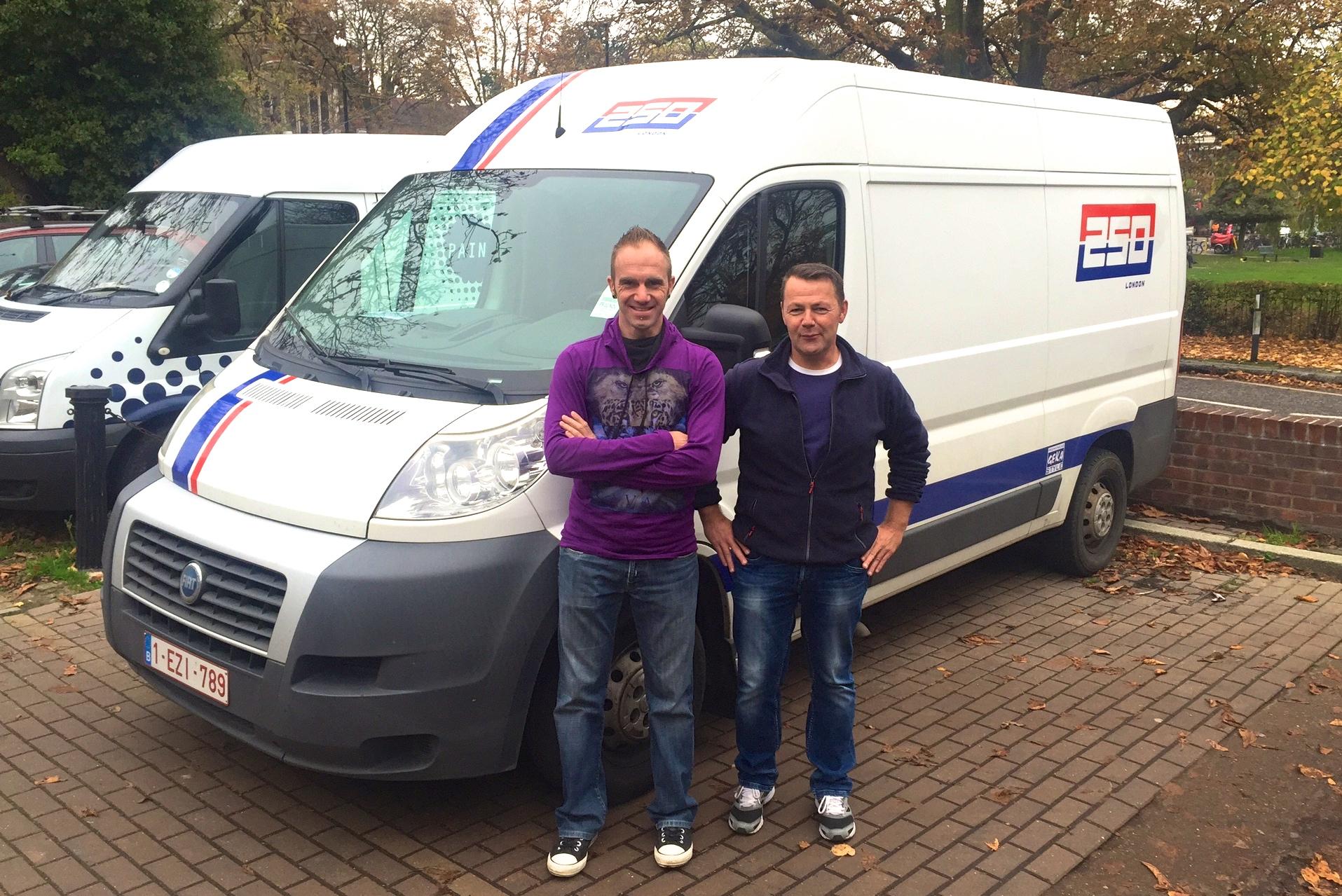 David Cools & Geert Gevers at 250London HQ picking up the stock this week. Nice Van!!