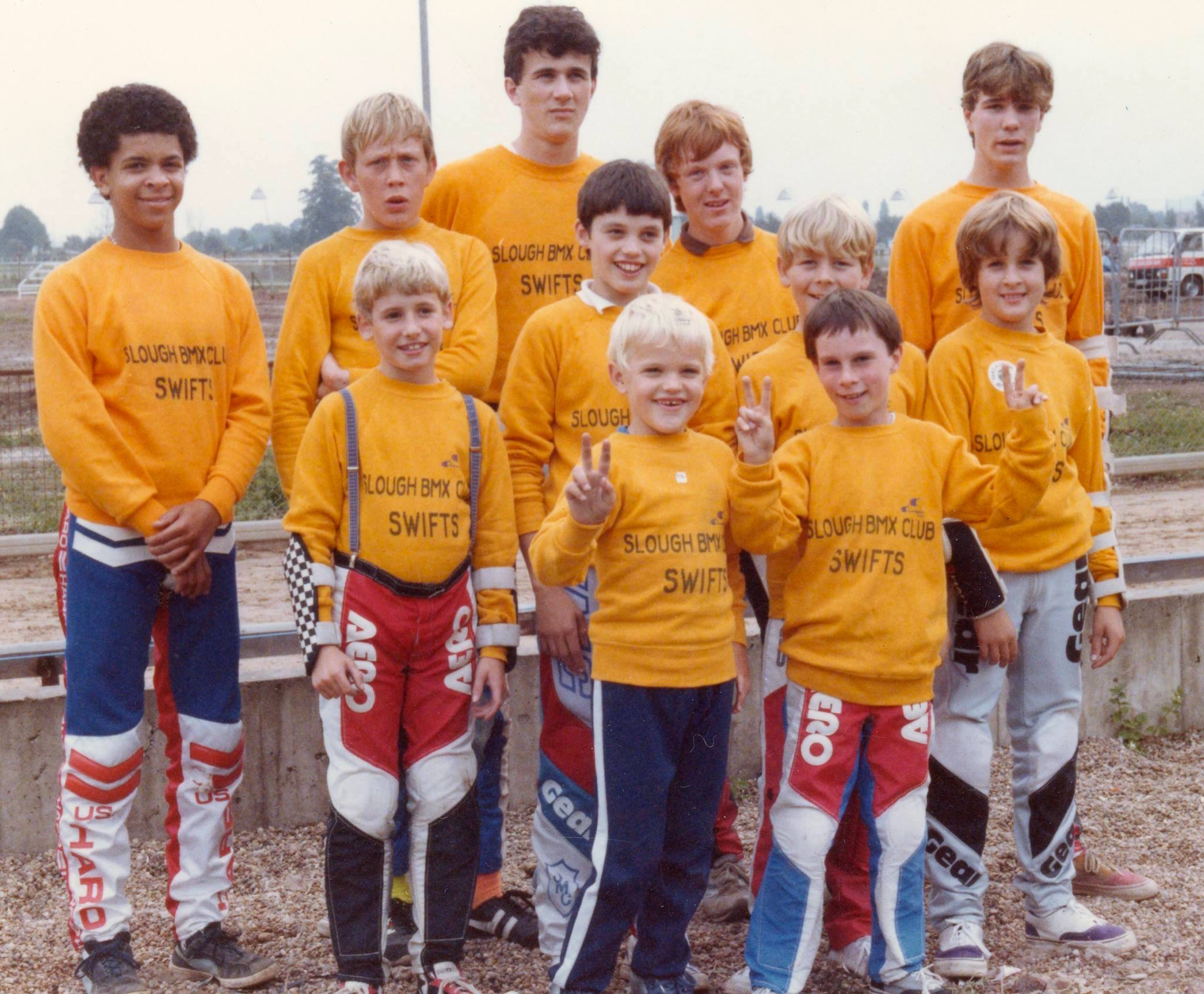 "The original ""Slough Swifts""? From left to right: James Chapman, Stuart Crawford, Robert Twiggs, Andy Taylor, Ashley Bishop, Gary Cross, Chris Carter {back row, 2nd from right} himself, Grant Melville, Alex Buckland, Lyndon Thurgood and Bryan Webb."