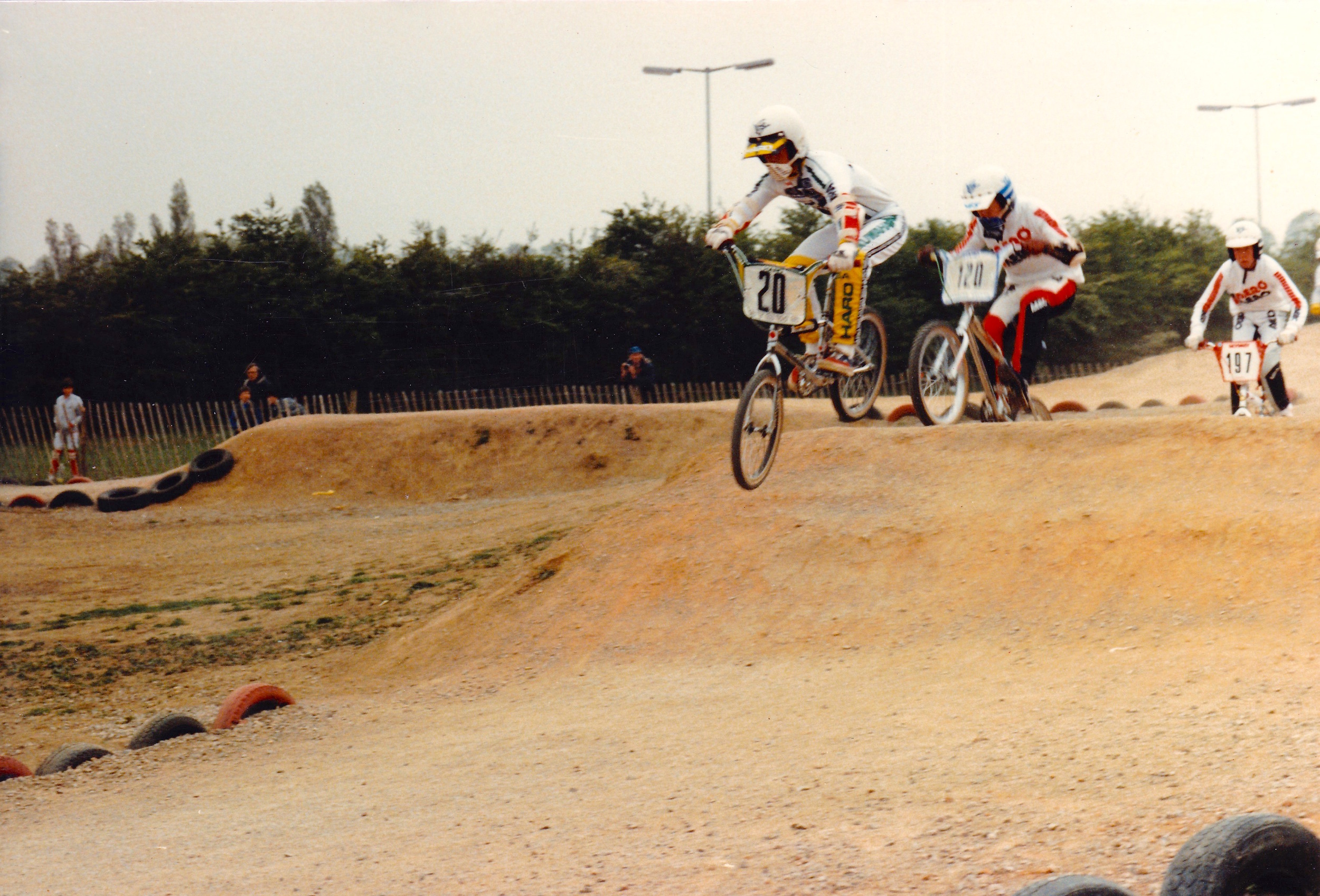 Hayes rider Lee Alexander demonstrating his experience by leading some Slough locals round the newly built track.