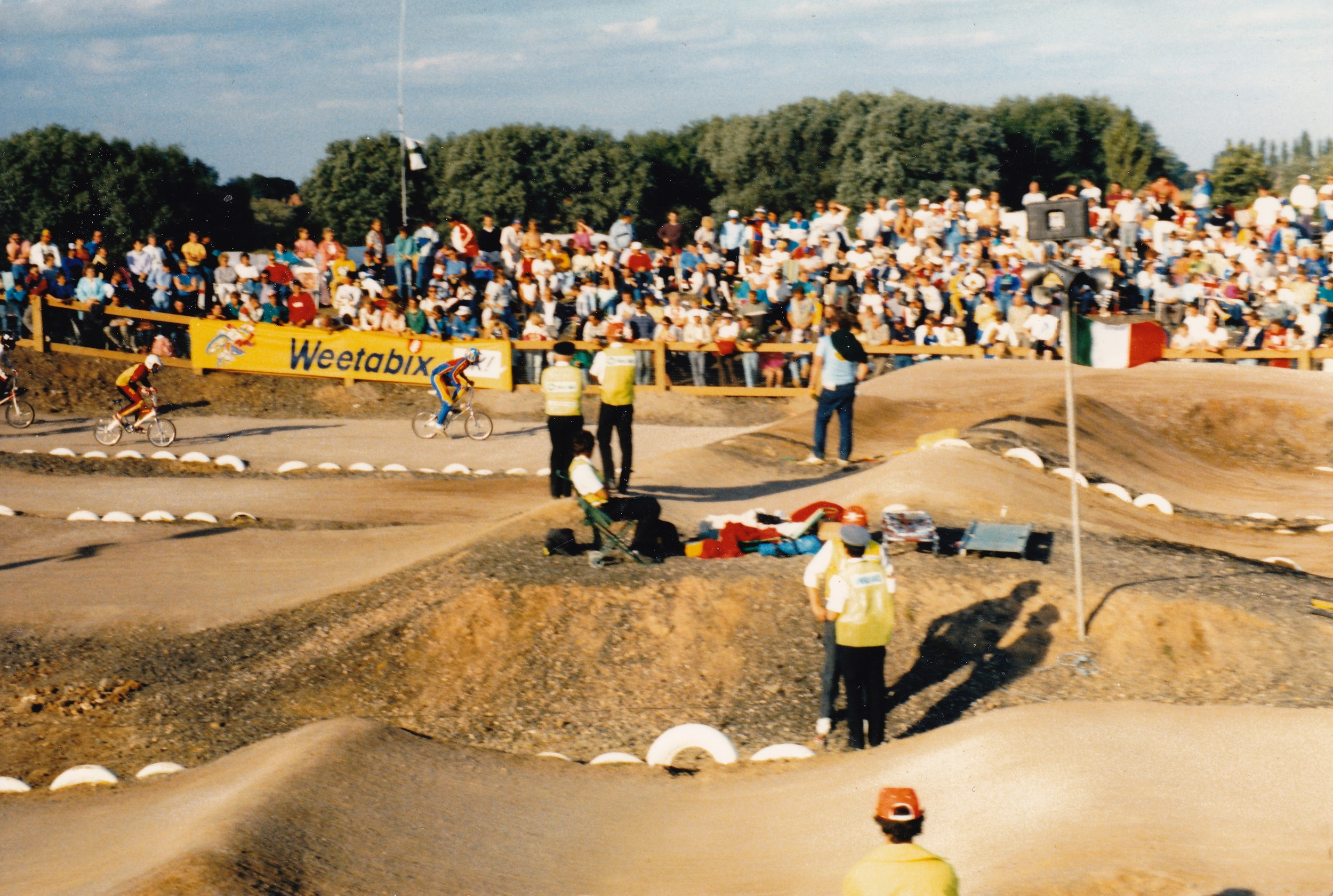 Crowds watching the racing at the Slough World Champs in 1986
