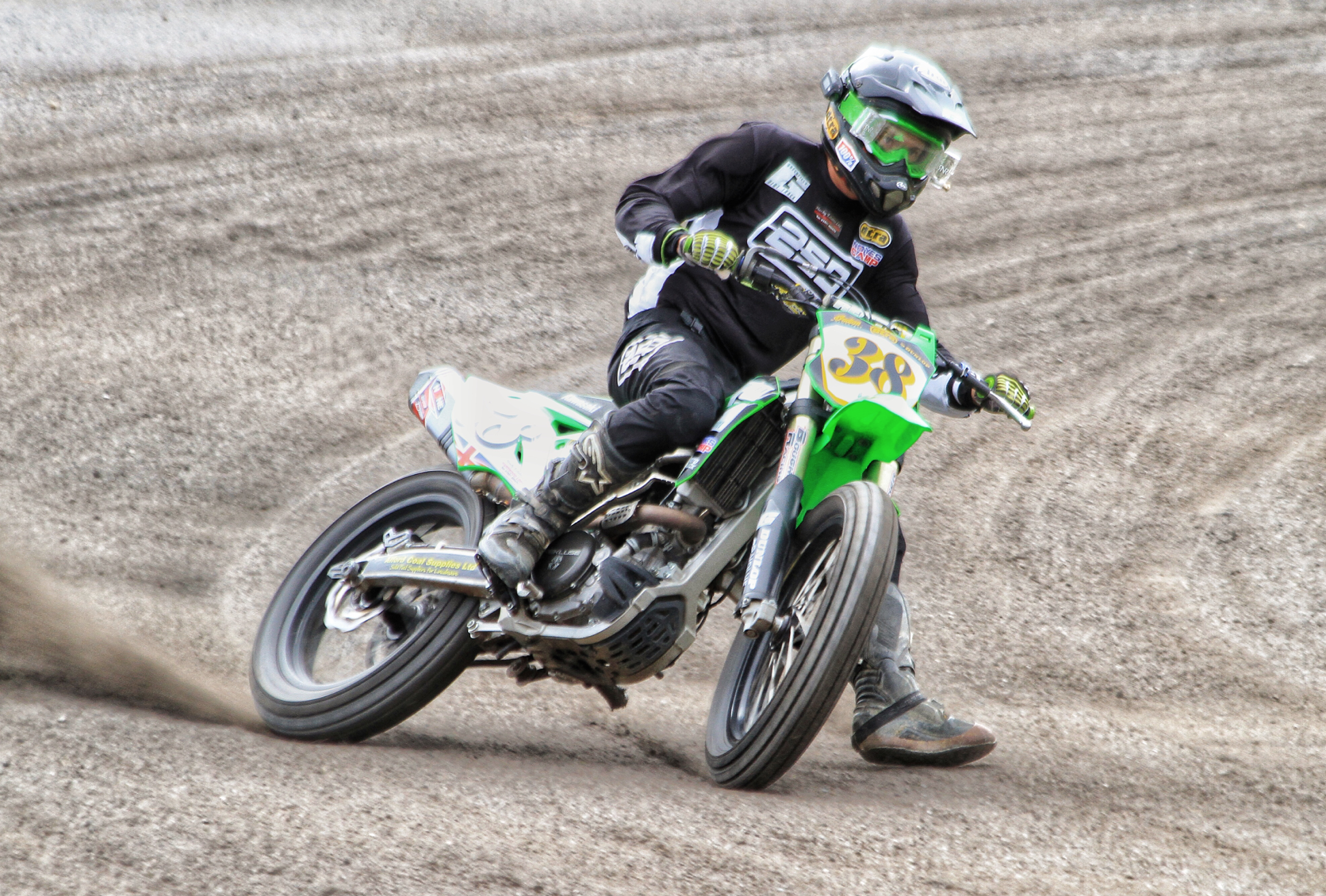 George Pickering, owner and founder of Greenfield Race Track, himself a Pro-Rider on the Flattrack scene.  Image: Paul France