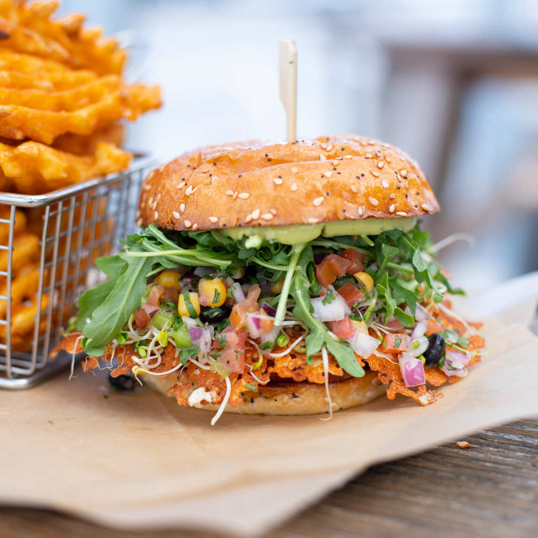 Yambanzo Burger (*V / *GF)    $12    HOUSE VEGGIE PATTY, PICO, COTIJA, SPROUTS, ARUGULA, AVOCADO CREMA, CHIPOTLE AIOLI
