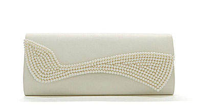 This Kate Landry pearl swirl flap clutch in ivory satin sells for $55. Photo by Kate Landry.