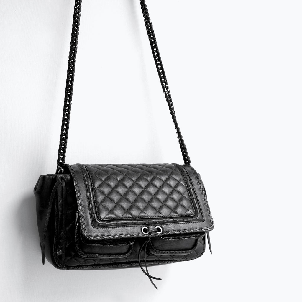 The Zara quilted leather city bag features edgy detailing similar to that of the Boy Chanel collection, but for a mere fraction of the price. Photo by Zara.