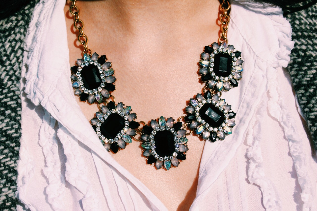 This Capsule by Cara statement necklace from Target is the perfect way to glam up a classic or neutral look with its black and iridescent stones.
