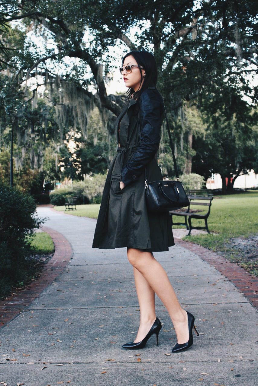 My go-to Coach mini saffiano leather satchel in black with gold hardware was the perfect bag to complement this look.