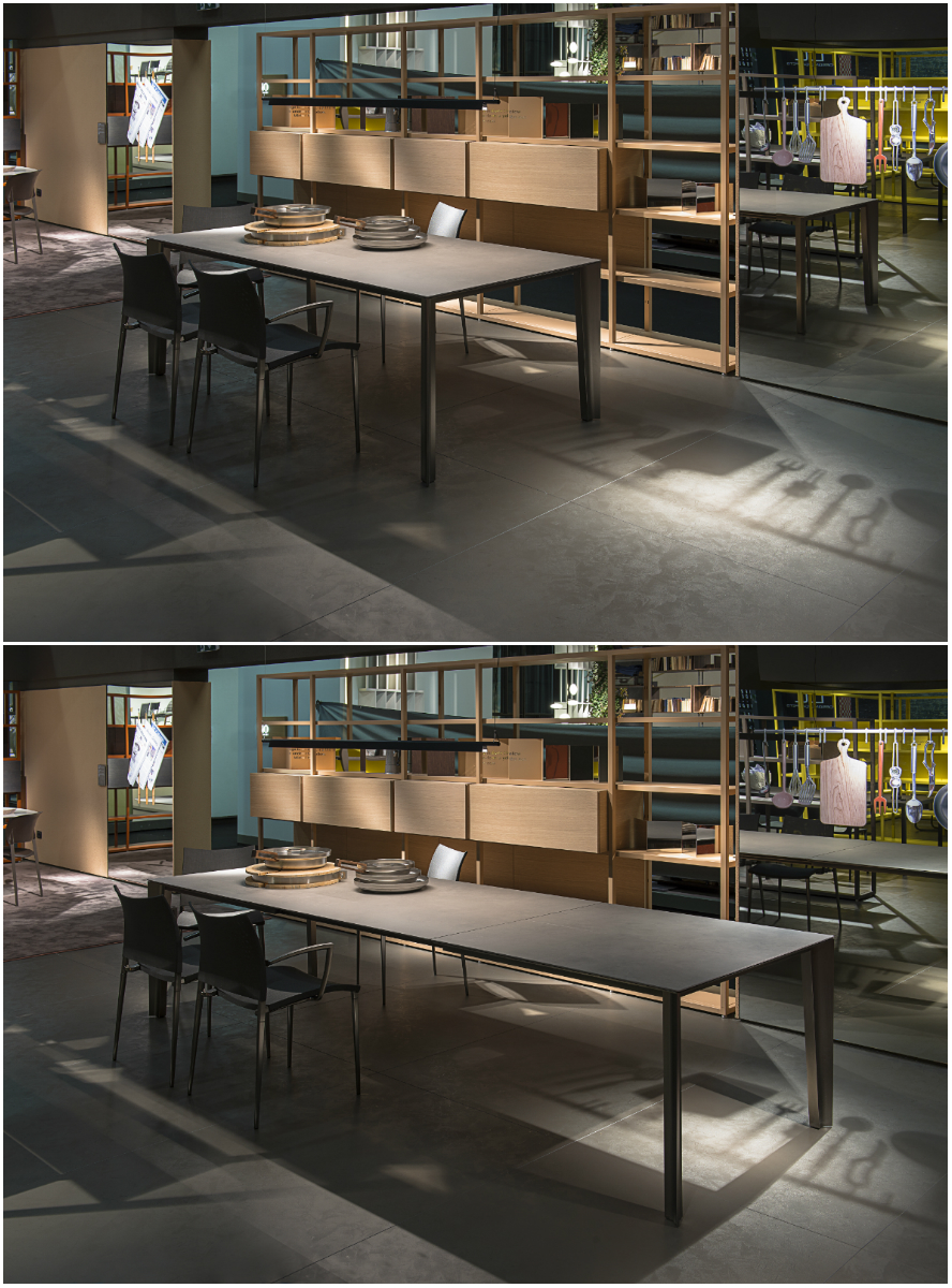 Skin extension table by Marco Acerbis, Sand chairs by Pocci + Dondoli, and Helsinki shelves by Caronni + Bonanomi.