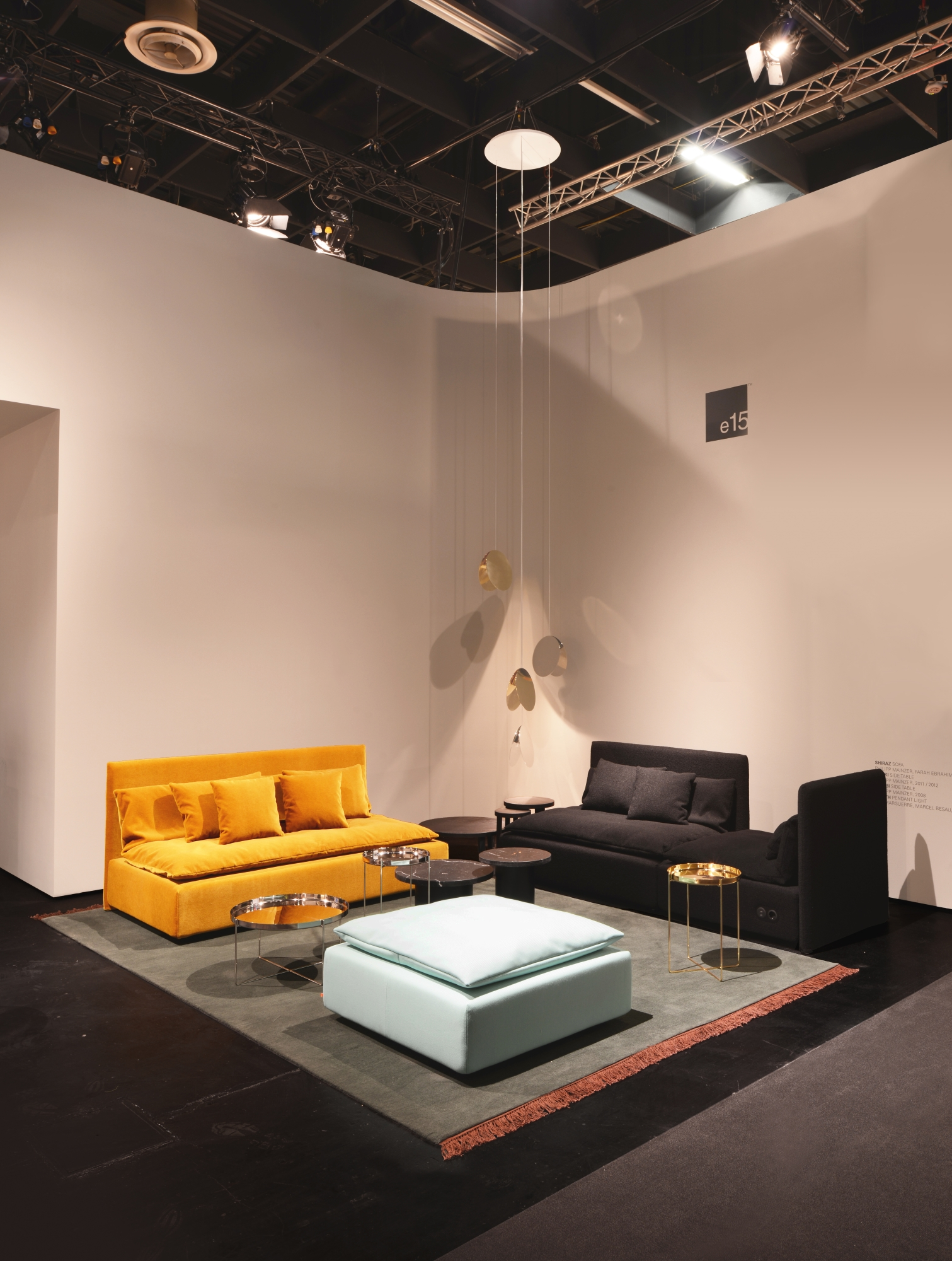 Shiraz sofa by Philipp Mainzer and Farah Ebrahimi, Habibi and Enoki side tables by Philipp Mainzer.