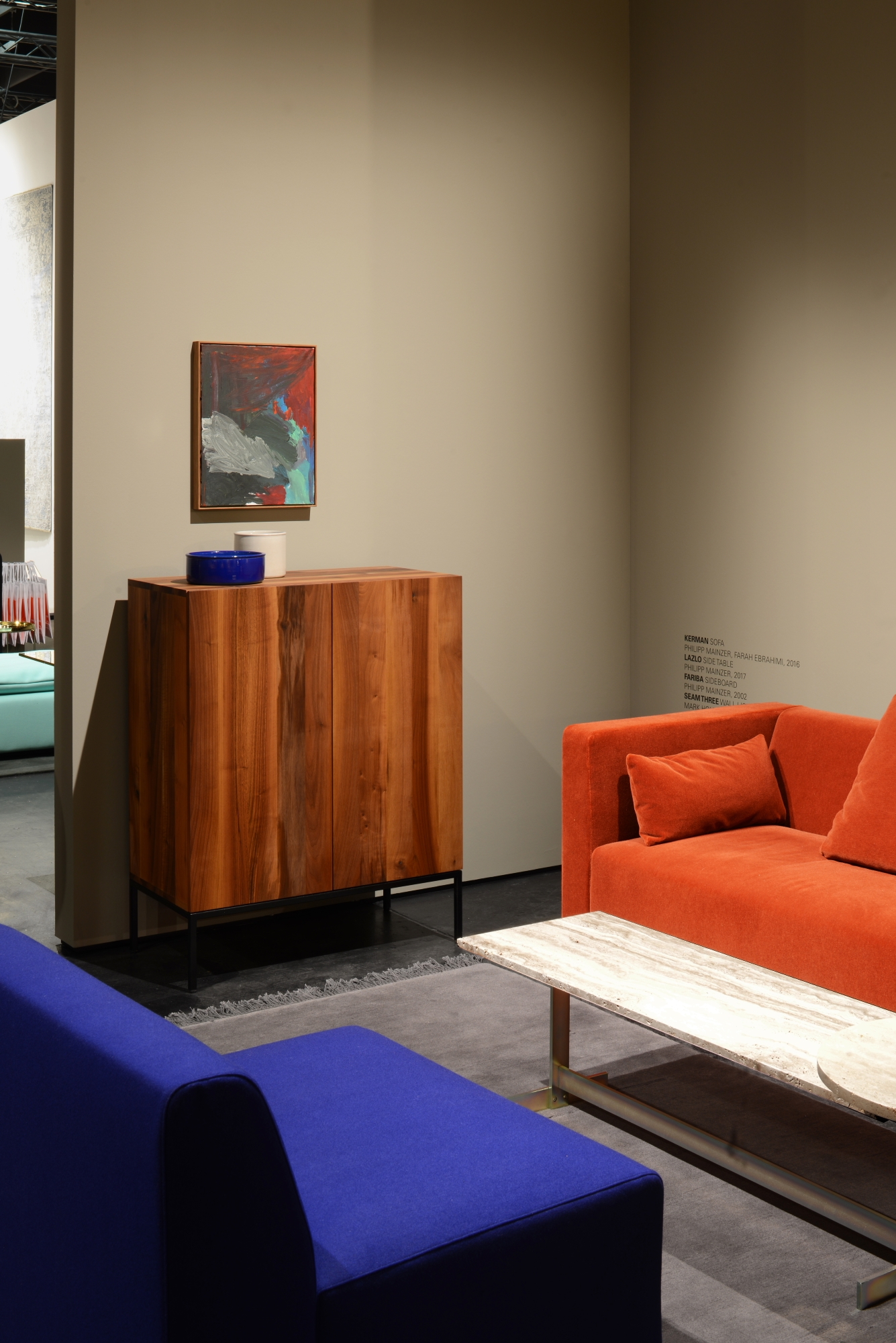 Kerman sofa by Philipp Mainzer and Farah Ebrahimi, Fariba sideboard and Lazlo coffee table by Philipp Mainzer.