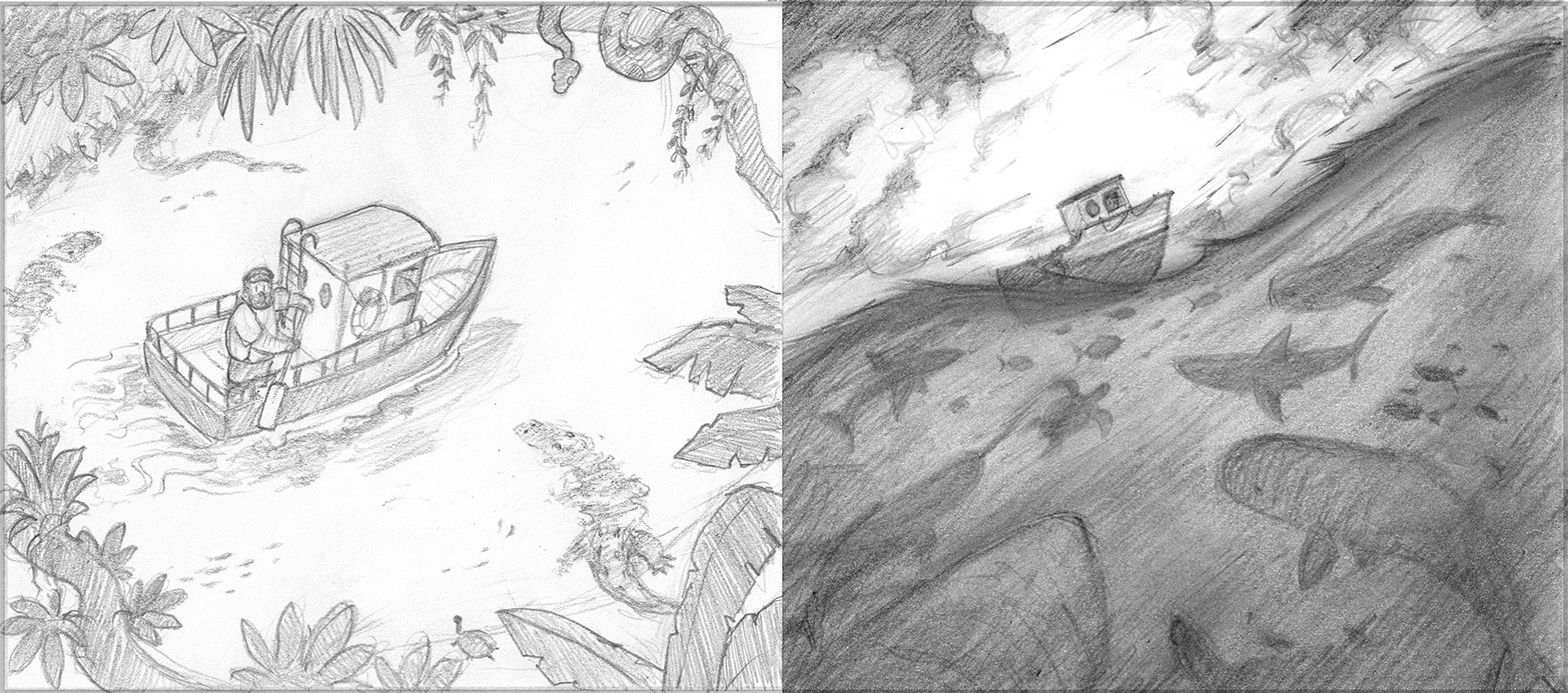 Pencil sketches laid out as a single spread for the final book.