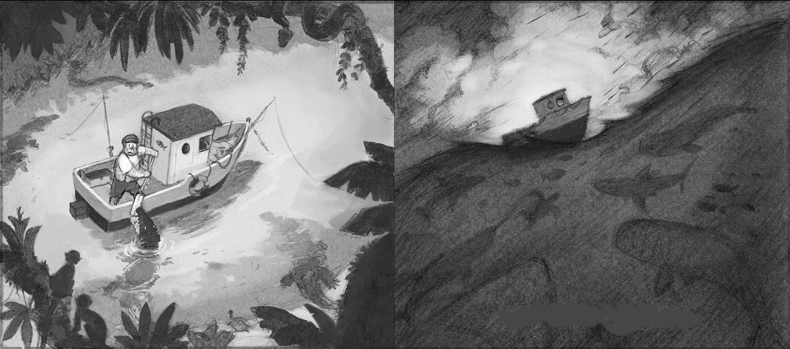 Now in Photoshop, I add black and white tones or  values  to the sketches, trying to emphasize the boat as the most important element in the composition.