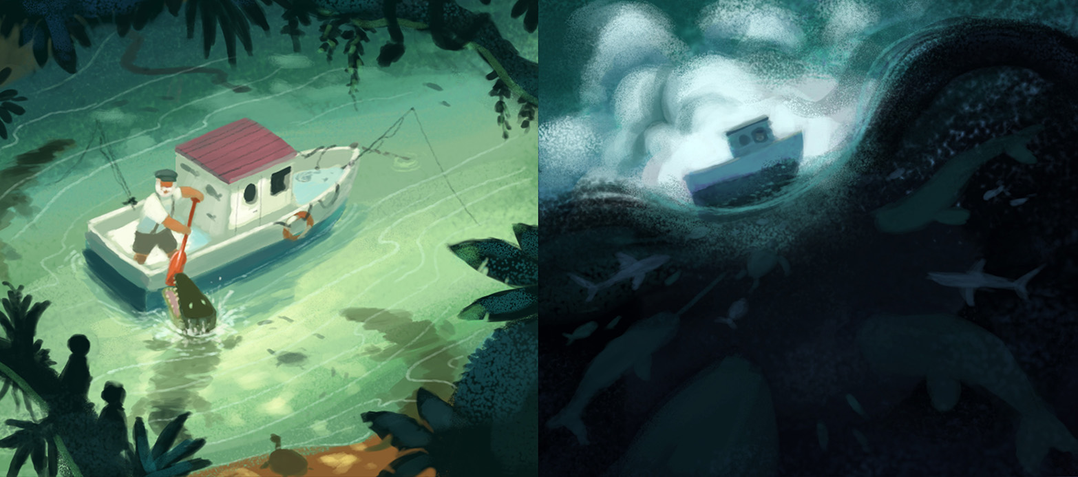 My color studies for the final illustration. Notice how these loose digital paintings evoke mood through color and light.