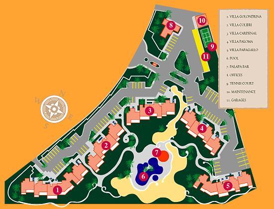 Map of Las Gardenias Condominium. Casa Corridor is located in Villa Paloma, building 4.