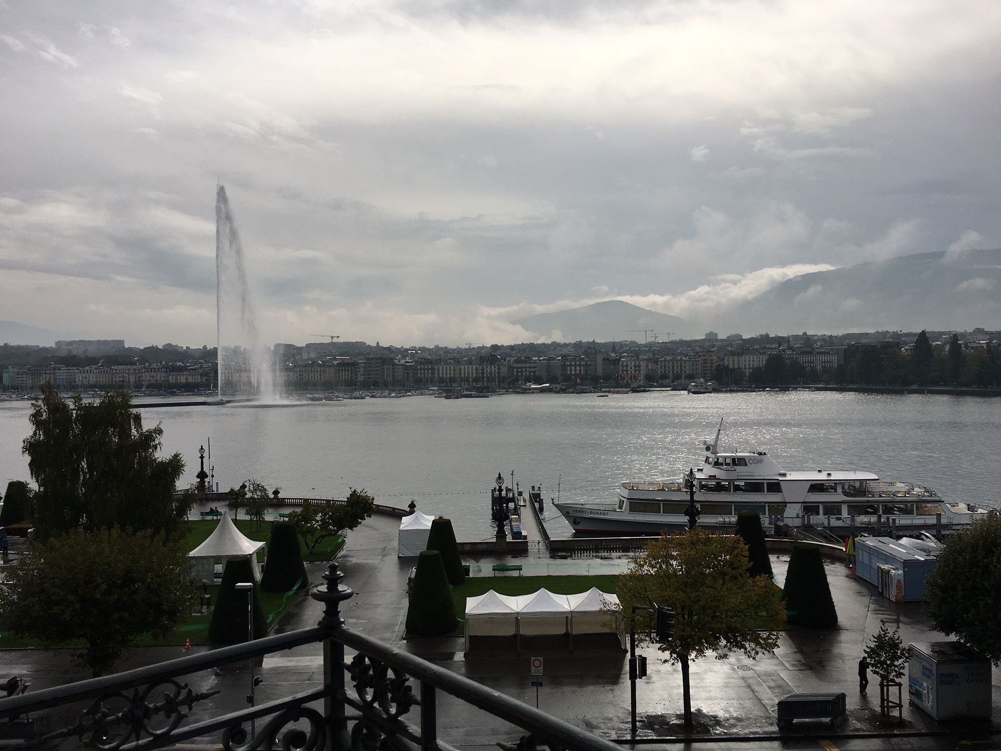 Rainy day view from the amazing Beau-Rivage hotel in Geneva
