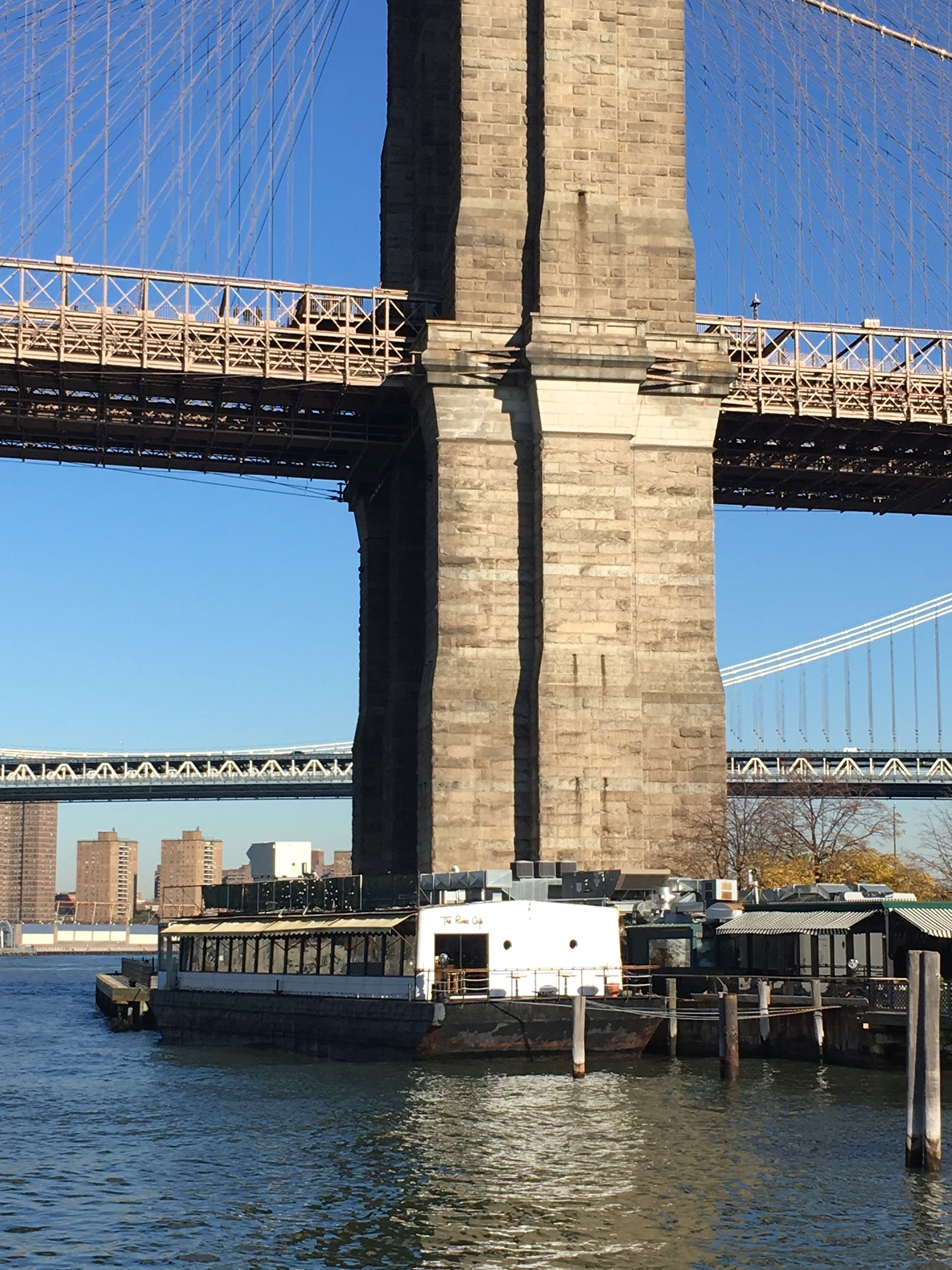 The River Cafe under the Brooklyn Bridge.
