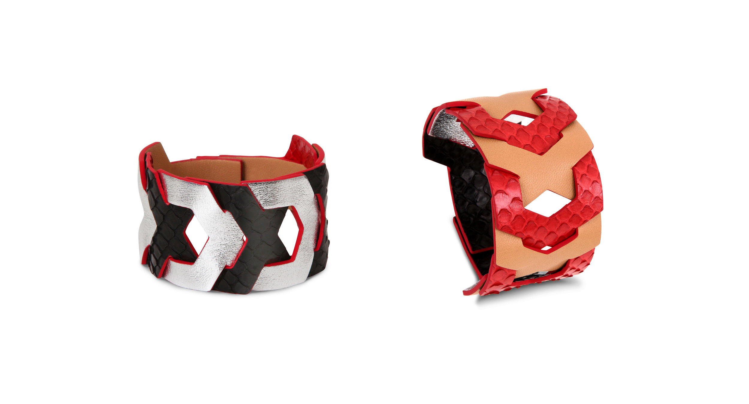 JASMINE - luxury leather cuff reversible - Camille Roussel