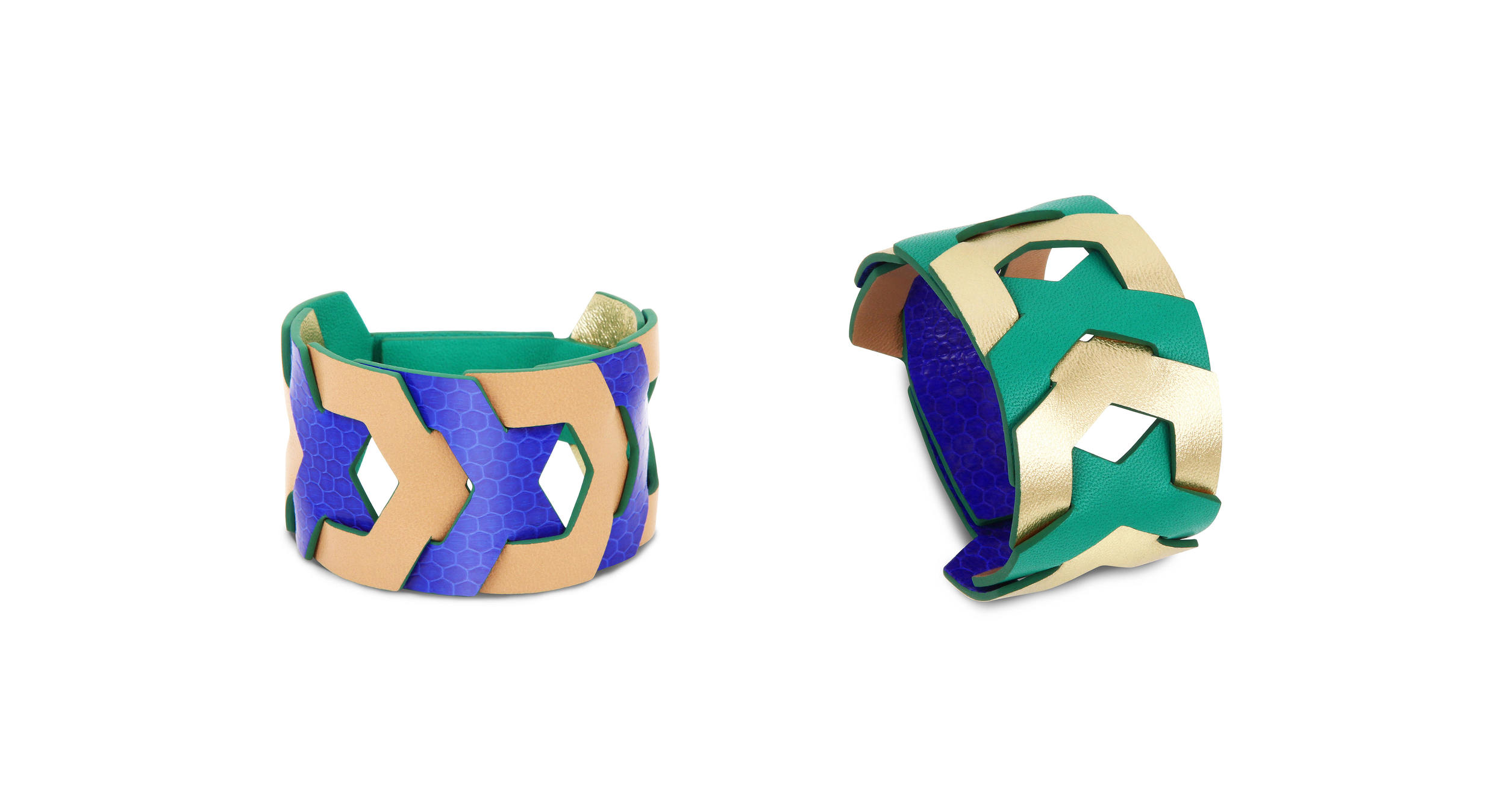 JASMINE - luxury leather cuff - reversible - design Camille Roussel